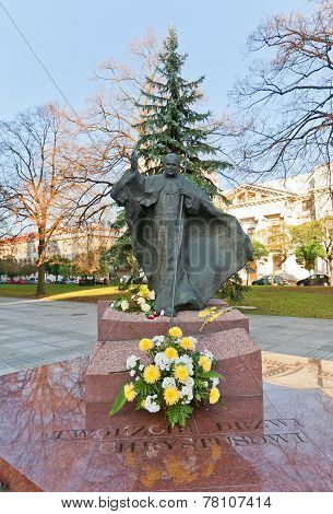 Monument To Pope John Paul Ii In Lodz, Poland