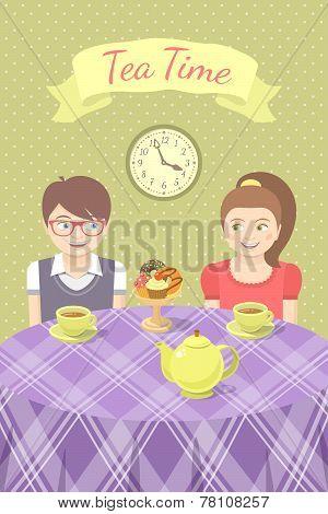 Couple in love drinking tea