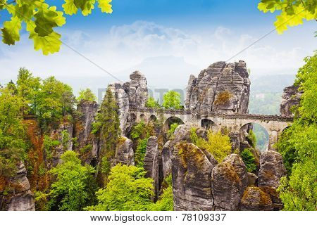 Bastei bridge in summer, Germany