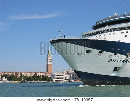 Cruise Ship In Front Of The Bell Tower Of San Marco Venice