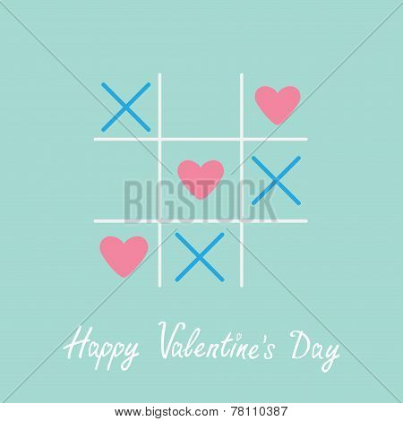 Tic Tac Toe Game With Cross And Three Heart Sign Mark Happy Valentines Day Card Blue Flat Design
