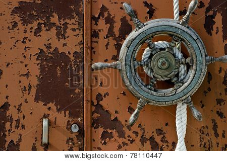 Old boat wheel horizontal