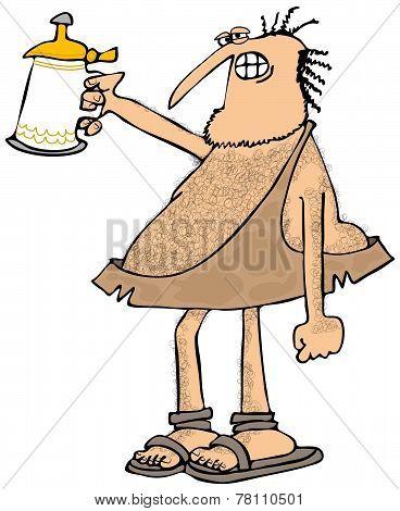 Caveman raising a beer stein