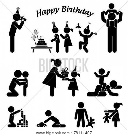 Childhood vector set. Pictogram icon set. Children birthday party.