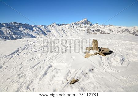 Italian Western Alps In Winter
