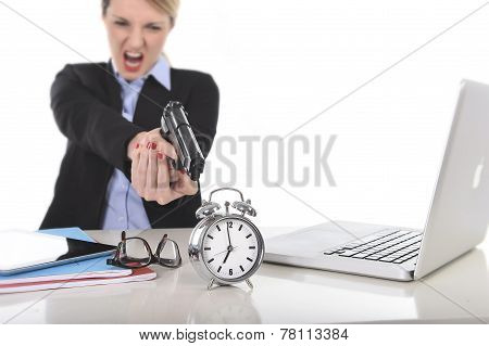 Furious Angry Businesswoman Working Pointing Gun To Alarm Clock In Out Of Time Concept