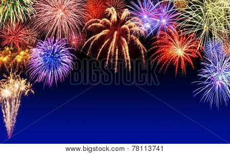 Fireworks Display On Dark Blue