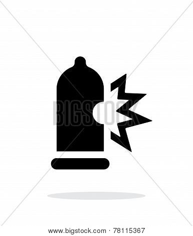 Condom bursting icon on white background.