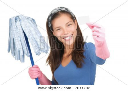 Cleaning Woman Holding White Sign