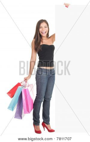 Woman Shopping Sign