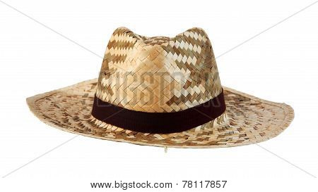 Wicker Hat With Brown Fabric Isolated