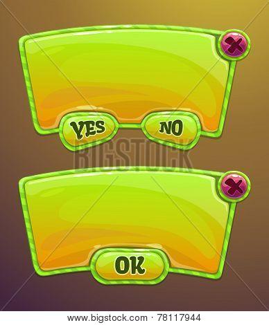 Green cartoon panels