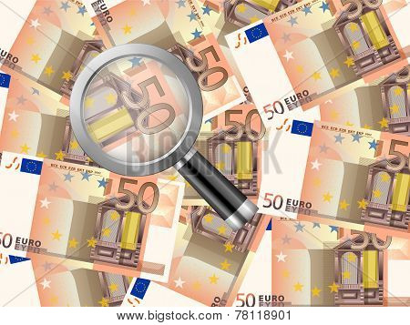 Magnifier On Fifty Euro Background