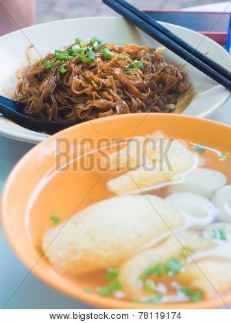 Fried  Mee With Fish Ball Soup.