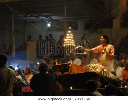 Young Brahmin Priests Conduct Aarti Evening Service
