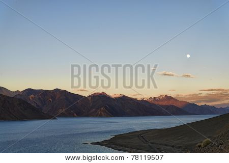 Mountain Lake Under Rising Moon