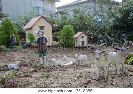 View of nativity scene, in Italian called Presepe