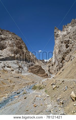 River Flowing Among Jagged Mountains