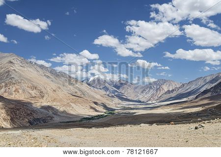 Little Green Oasis Village Along River In Desert Ladakh Mountains
