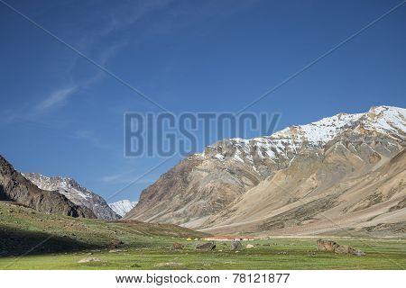 Tents Camp Among Snowed Summits