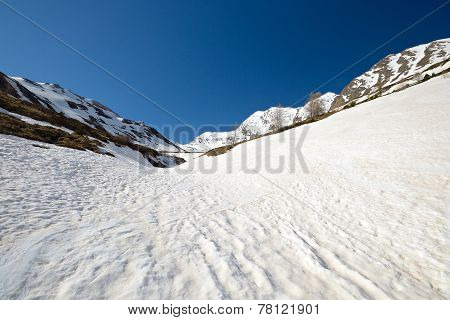 High Altitude Snow Melting Pattern