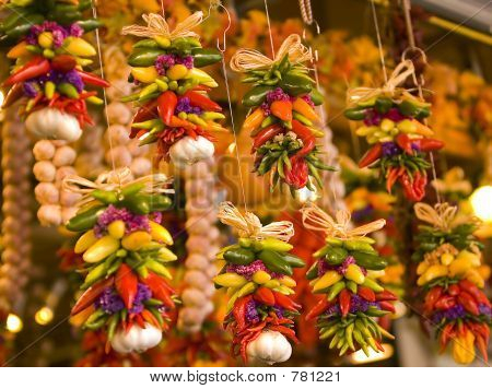 Hanging peppers decoration