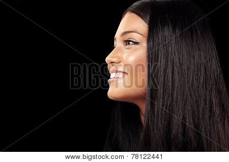 Women's Profile On A Black Background