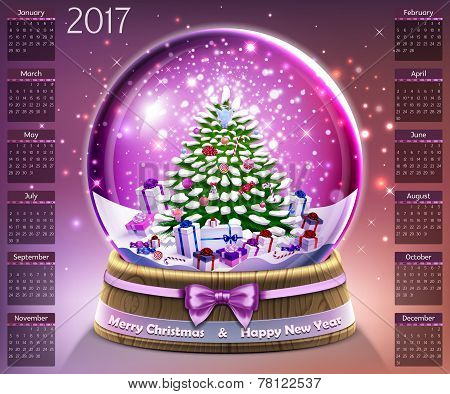 Calendar With Christmas Snow Glass Crystal Ball On 2017 In Vector