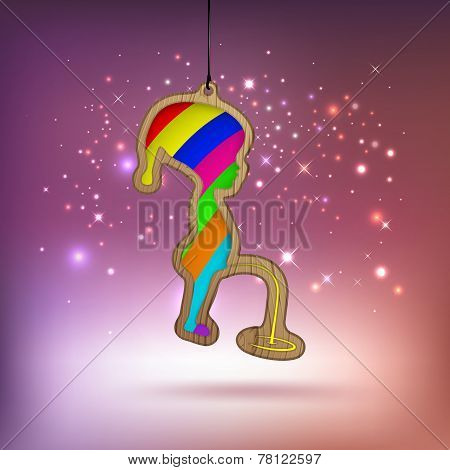 Joky Christmas Card With Wooden Bauble As A Boy In Vector