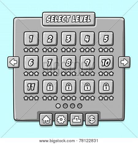 Stone game menu level interface ui panels