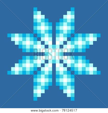 8-bit Pixel Crystalline Snowflake