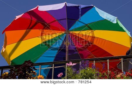 Large colorful resturant umbrella