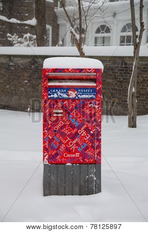 Canada Post Box In The Snow