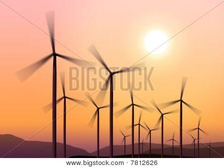 Wind Turbines On Hight Sky