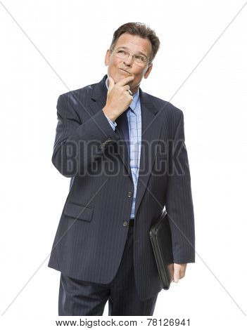 Handsome Businessman With Hand on Chin and Looking Up and Over Isolated on a White Background.