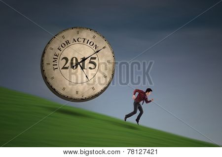 Man Running With The Time For Action