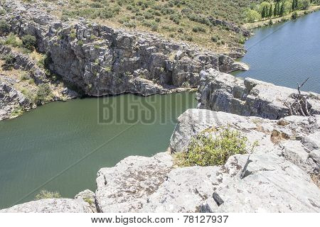 rocky landscape over Esla river in Spain