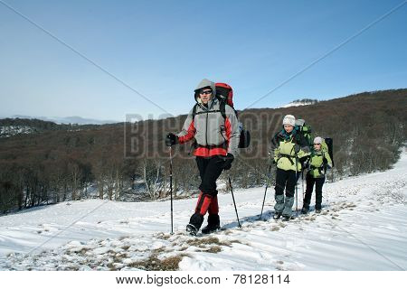 Winter hike on snowshoes.