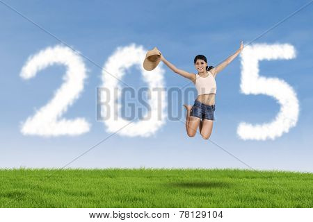 Pretty Girl With Cloud Forming Number 2015