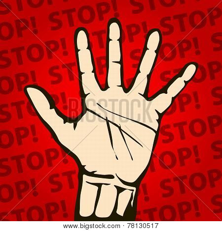 Hand raised with stop sign painted  background vector