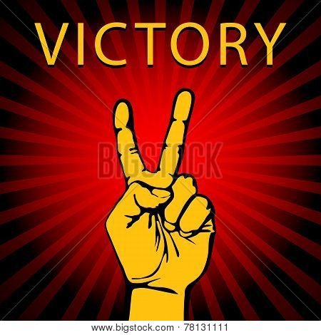 Vector illustration hand with victory sign