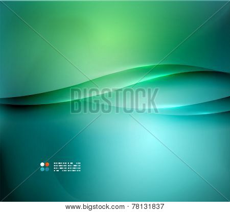 Green and blue blurred design template, abstract background with lights and lines