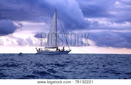 Yacht in the Pacific ocean at sunset