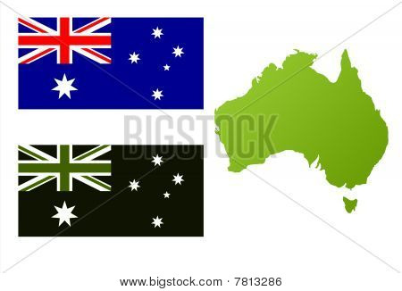 Australian Eco Flag And Map