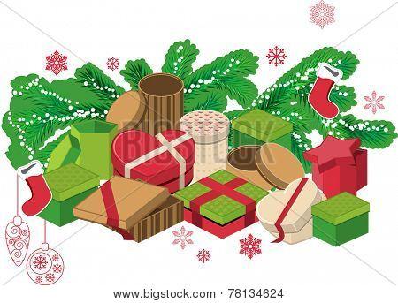 Gift boxes, fir branches and santa socks