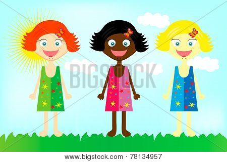 Happy colorful girls from all over the world