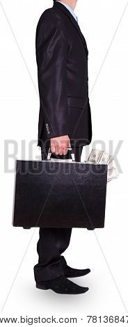 Man In A Black Suit With Black Case