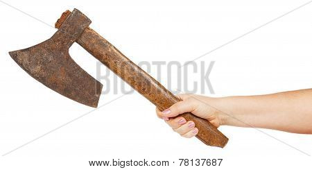 Old Ax In Female Hand