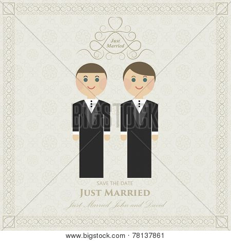 wedding invitation flat gay. wedding card flat. Gay marriage