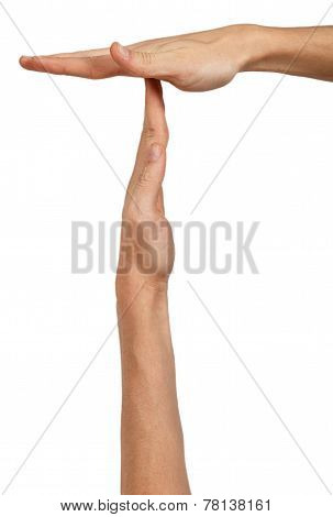 Man's Hands In A Position To Indicate Timeout Sign